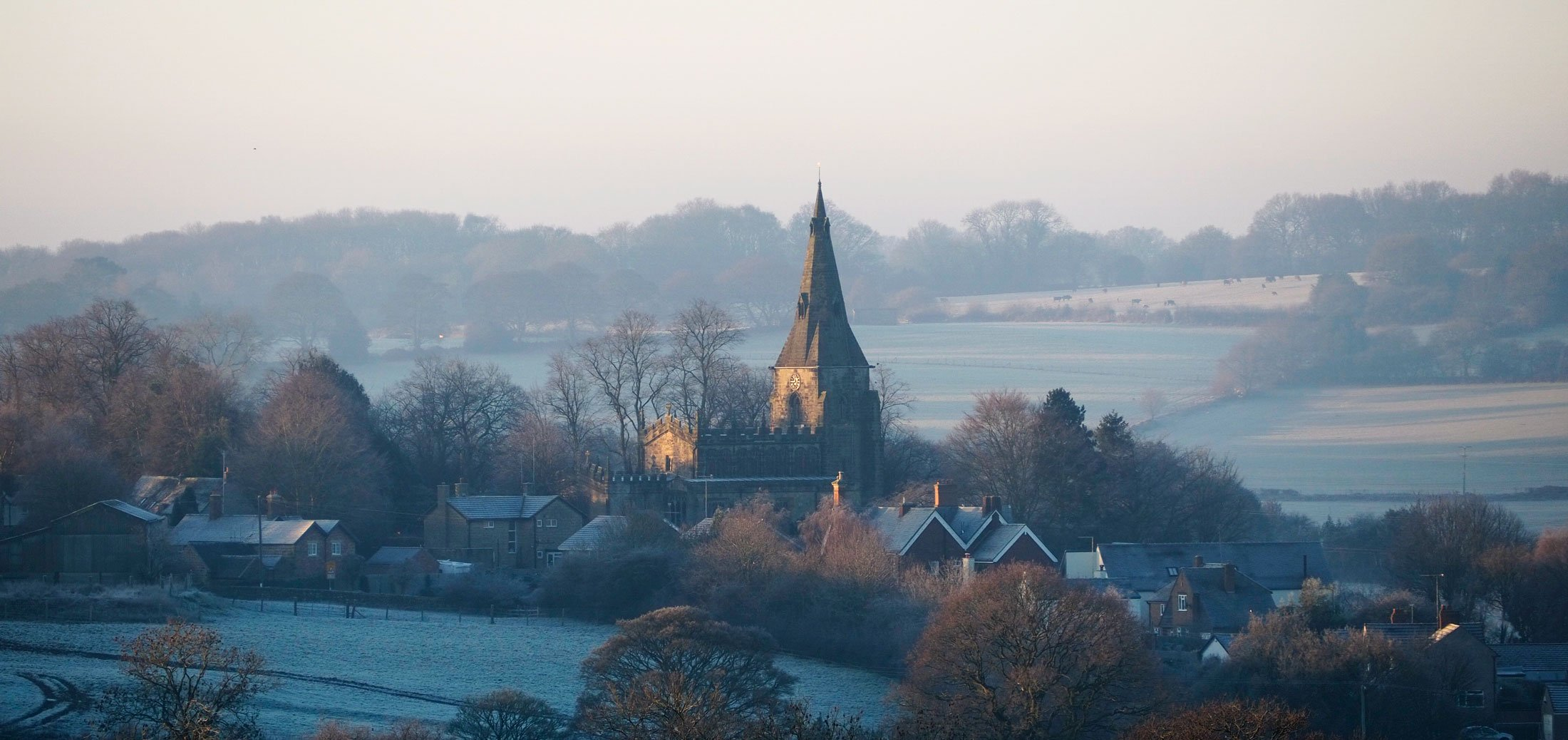 Horsley Church over Fields Frosty