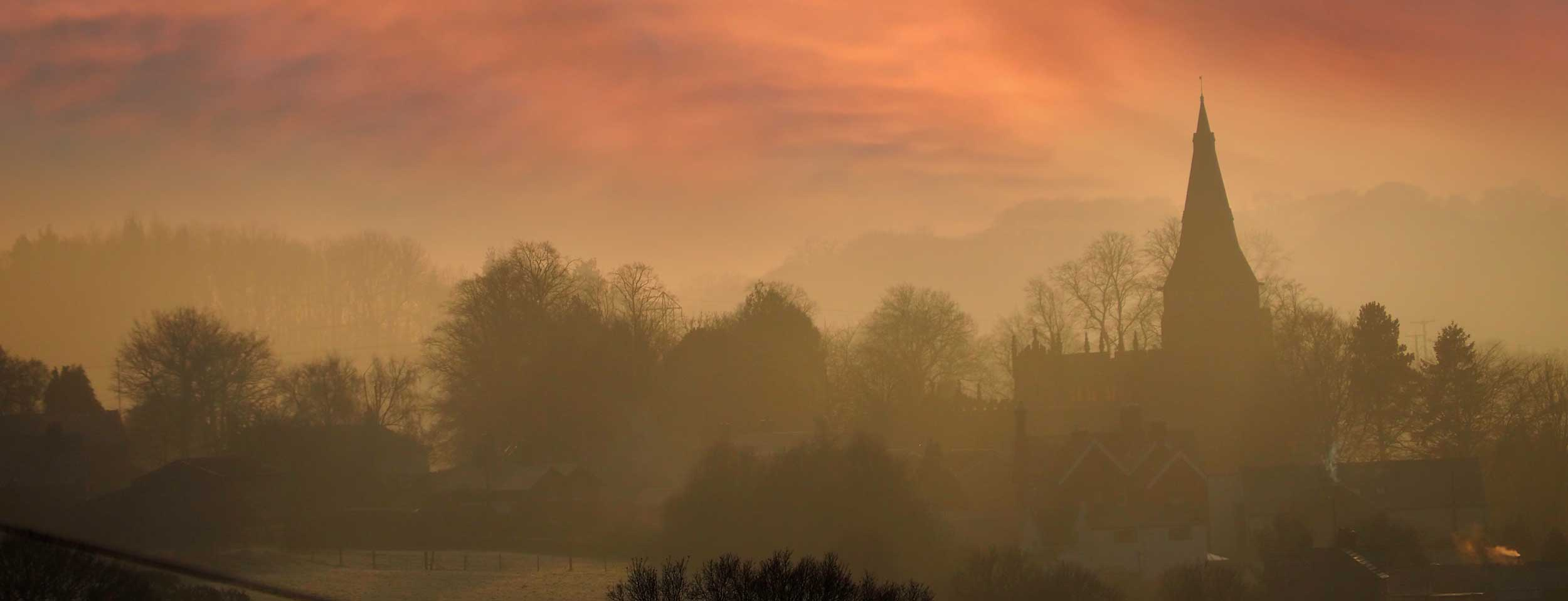 Golden morning view over Horsley Derbyshire